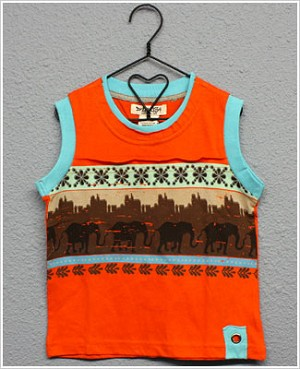 Baby Nay *Da Lil Guyz* Orange/Teal Elephant Tank
