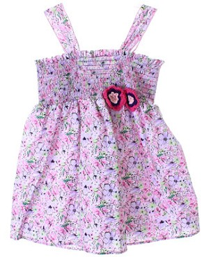 X: Baby Nay WONDER BLOSSOMS Smocked Woven Dress