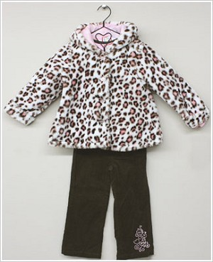 Baby Togs 3pc Pink/Cream Soft CHEETAH Coat - Pink Princess Shirt - Brown Cord Pants