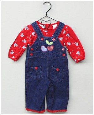 Baby Togs Red L/S Cherry Hearts Shirt & Lacy Denim Overall Set