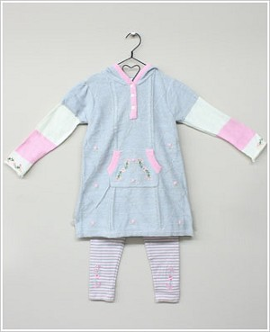 Baby Togs Grey Floral Hooded Sweater Dress & Pink/Grey Striped Legging Set