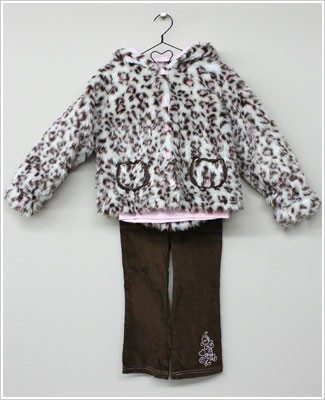 Baby Togs 3pc Pink/Cream LEOPARD Coat w/ Pockets - Pink Dotted Princess Shirt - Brown Cord Pants
