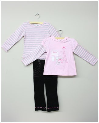 Baby Togs 3pc Paris Set w/ 2 Pink Shirts & Black/Pink Cord Pants
