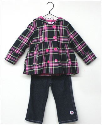 Baby Togs 3pc Black/Pink Plaid Pea Coat & Pink L/S Swing Top w/ Embroidered Jeans Set