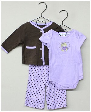 Baby Togs 3pc Purple/Brown *True Love* Set w/ Cardigan - Bodysuit - Ruffle Pants