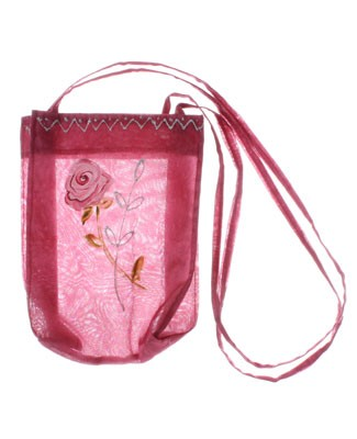 ~II: Balu Mulberry Organza Bag With Rose Details