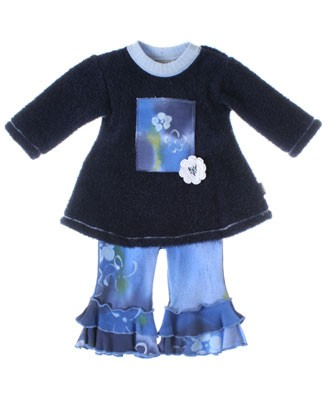 ~Balu Blue Floral  L/S Top With Blue Floral Tiered Pants