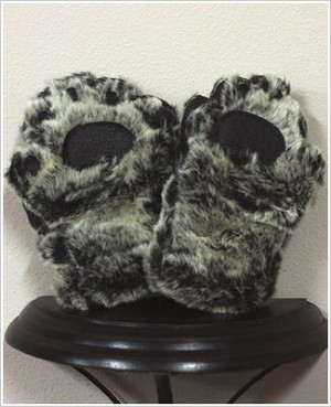 Bear Hands Grey Black Youth Faux Fur Mittens