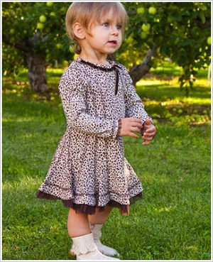 Kate Mack Brown/Cream Leopard Print L/S Infant Dress
