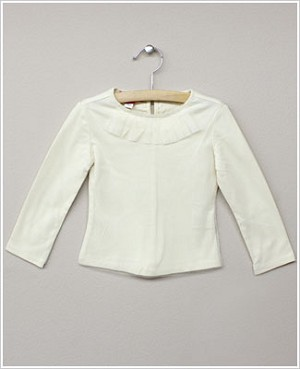 Kate Mack Ivory L/S Netting Tee Shirt w/ Pleated Neckline
