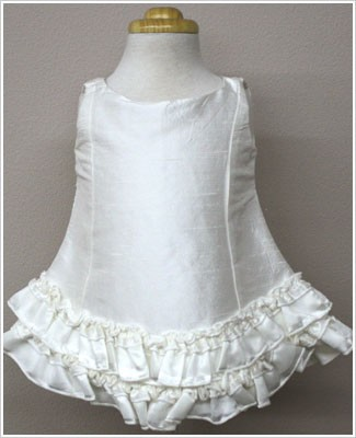Baby Biscotti Ivory Silk Sleeveless A-Line Dress w/ Ruffles
