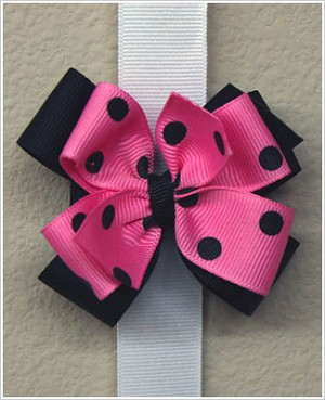 Blooming Bows Bubble Gum/Black Mini Dippy Dots Stack Clippie