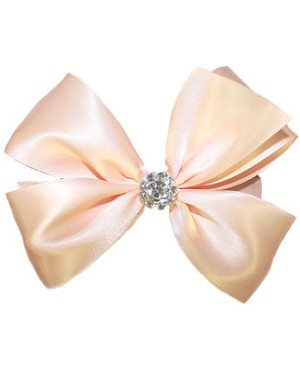 Blooming Bows Rhinestone Peach Satin Hair Bow
