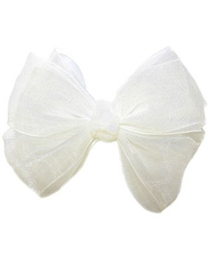 Blooming Bows White Classic Barrette