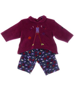 Catimini Fuchsia Bird Sweater & Blue Floral Print Pant Set