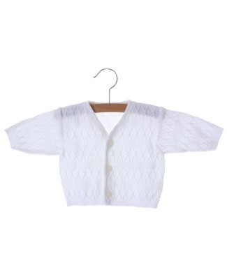 Clayeux White Knit V-Neck Sweater