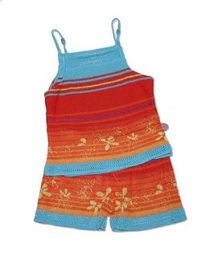 Clayeux Red/Blue/Orange Striped Tank and Short Set