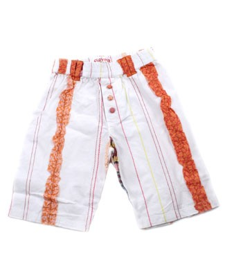 12m Clayeux White Pants w/ Multi Colored Stripes and Buttons