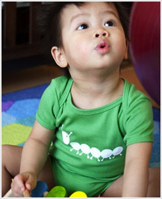 Colette Kids S/S Green Momo Caterpillar Bodysuit