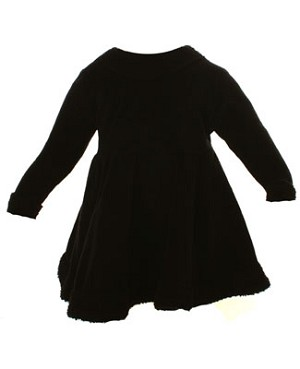 6m/12m II: Cotton Caboodle Black Velour Skater Dress