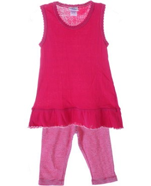 Cotton Caboodle Fuchsia Sleeveless Tunic & Stripe Capri Leggings Set