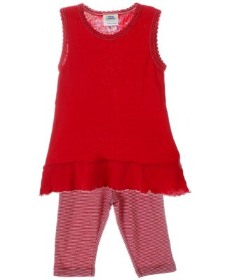 Cotton Caboodle Red Sleeveless Tunic & Stripe Capri Leggings Set