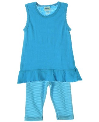 Cotton Caboodle Turquoise Sleeveless Tunic & Stripe Capri Leggings Set