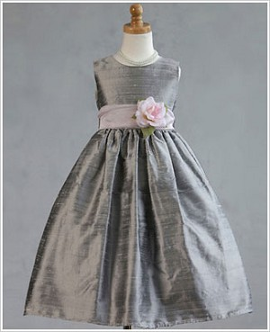 Z: Crayon Kids Silver Sleeveless Dress w/ Flower