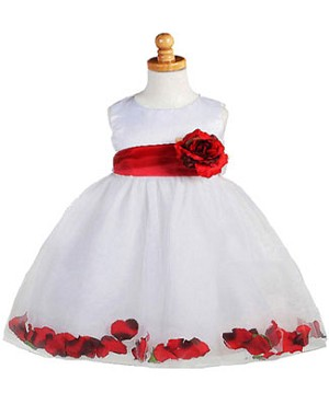 Crayon Kids WHITE/RED Sleeveless Petal Dress w/ Flower