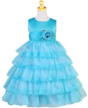Z: Crayon Kids TURQUOISE Sleeveless Layered Dress w/ Flower