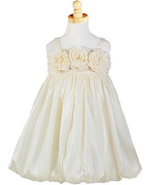 Z: Crayon Kids IVORY Strappy Tri-Flower Bubble Dress