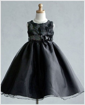 Z: Crayon Kids BLACK/BLACK Sleeveless Dress w/ Flower Bodice