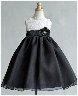 Z: Crayon Kids WHITE/BLACK Sleeveless Dress w/ Flower Bodice