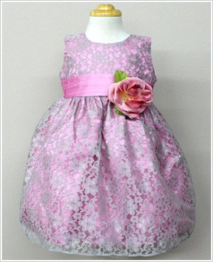 Z: Crayon Kids Sleeveless Dusty Rose Floral Lace Dress w/ Sash and Flower