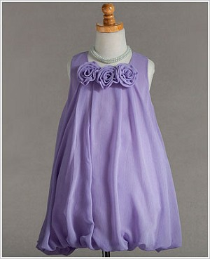 Z: Crayon Kids Lilac Tri Flower Sleeveless Bubble Dress