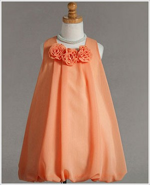 Z: Crayon Kids Orange Tri Flower Sleeveless Bubble Dress