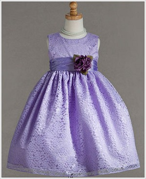 Z: Crayon Kids Sleeveless Lavender Floral Lace Dress w/ Sash and Flower