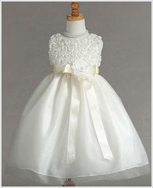 Z: Crayon Kids Ivory Sleeveless Rose Bodice Dress w/ Sash & Flower