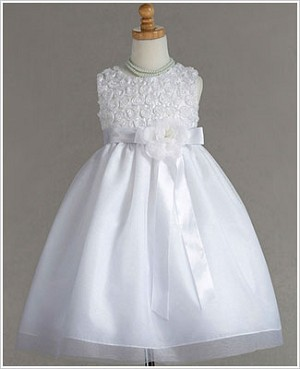 Z: Crayon Kids White Sleeveless Rose Bodice Dress w/ Sash & Flower