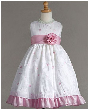 Z: Crayon Kids White Sleeveless Dress w/ Pink Floral Embroiderey & Sash