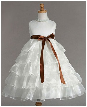 Z: Crayon Kids Ivory Sleeveless Tiered Layer Dress w/ Brown Ribbon
