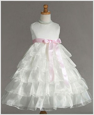 Z: Crayon Kids Ivory Sleeveless Tiered Layer Dress w/ Pink Ribbon