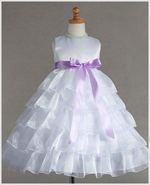 Z: Crayon Kids White Sleeveless Tiered Layer Dress w/ Lavender Ribbon