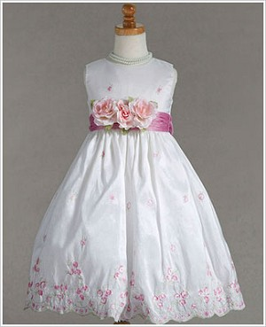Z: Crayon Kids White Sleeveless Dress w/ Pink Sash & Embroidery