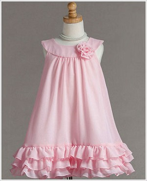 Z: Crayon Kids Pink Yoke Collar Dress w/ Ruffle Trio
