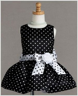 Z: Crayon Kids Black w/ White Dots Sleeveless Drop Waist Dress & Sash