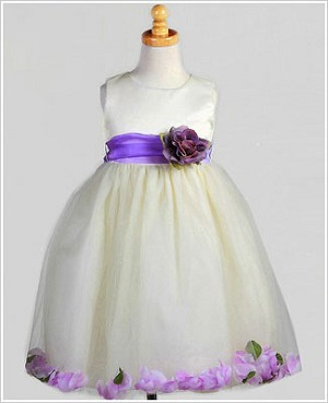 Z: Crayon Kids Ivory/Lavender Sleeveless Petal Dress