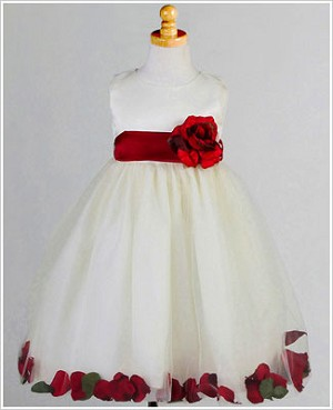 Z: Crayon Kids Ivory/Red Sleeveless Petal Dress
