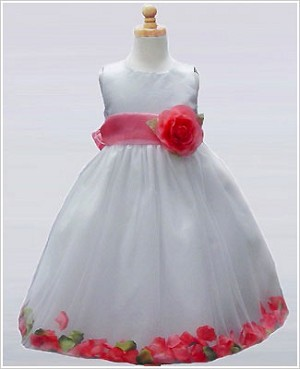 Z: Crayon Kids White/Coral Sleeveless Petal Dress