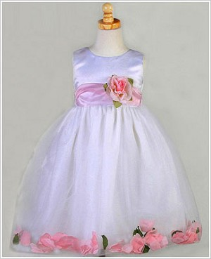 Z: Crayon Kids White/Light Pink Sleeveless Petal Dress